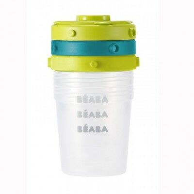 Beaba Set Of 6 Food Conservation Jars 200Ml - Blue/Neon - Warehouse Clearance