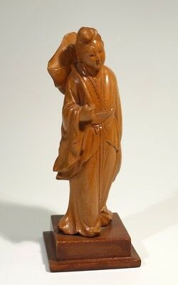 Vintage Finely Carved Chinese Wooden Figure.
