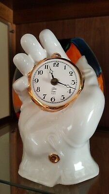 Rare~Siver Crane  Pottery Large Gloved Hand Clock.