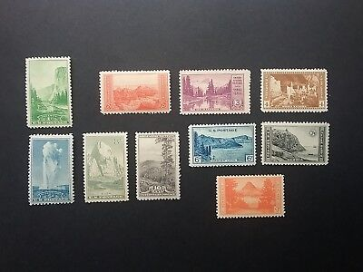 US 1934 National Parks Year Set of 10, Complete - 740-749  MH