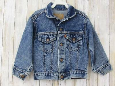 Vintage Boys Girls Jean Jacket Levi's Size 6 Orange Tab Stonewashed