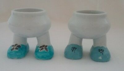 Novelty Egg Cups Ceramic With Feet X 2