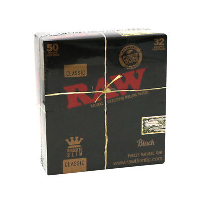 Raw Classic King Size Slim Black Rolling Papers 50 Packs(1 Box) UK SELLER UNIQUE