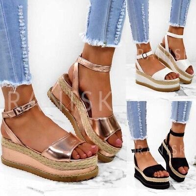 7492374153a4 Womens TILLY Chunky Wedge Heels Platform Espadrilles Sandals Flatforms Shoes