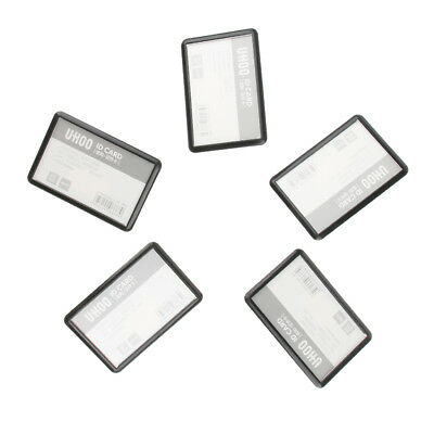 5 Pcs Black PP Name Badges ID Card Holder with Anti-slip Combi-Clip