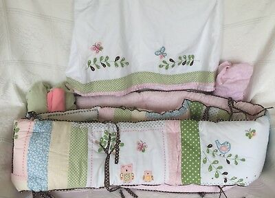 Pottery Barn Kids Hayley Owl Woodland Crib Bumper Pad & Skirt  & 3 Sheets  Euc