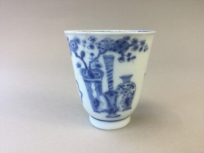 Kangxi Blue and White Bell Shaped Wine Cup - 'Hundred Antiques'