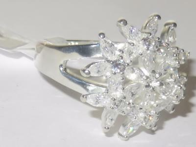 31820 Sterling Silver Simulated Diamond Ring Stamped Marquise Flower Cocktail