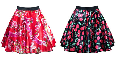 Ladies SATIN ROCKABILLY Skirt Cherry & Blossom Rock n Roll UK 1950s Costume