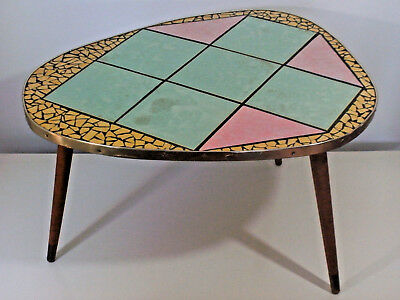 Vintage 1950s PLANT STAND TABLE MOSAIC DANISH Modernist Eames Atomic Age RETRO