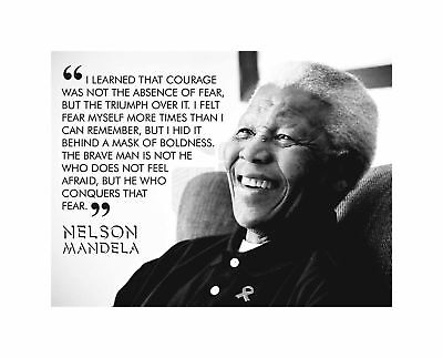 I Learned That Courage Nelson Mandela BW Typography Quote Canvas Print
