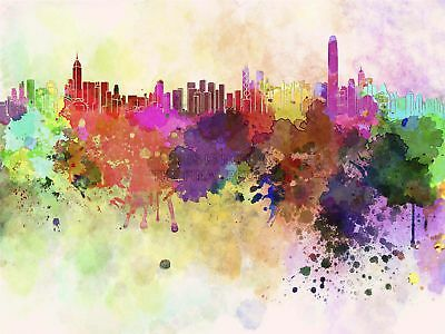 Painting Abstract Cityscape Hong Kong Paint Splash Skyline Canvas Print