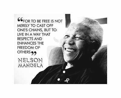 For To Be Free Mandela Nelson BW Motivation Typography Quote Art Canvas Print