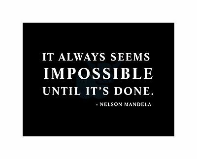 Nelson Mandela Always Impossible Done Quote Typography Simple Canvas Print