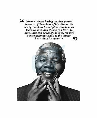No One Is Born Hating Nelson Mandela BW Typography Quote Canvas Print