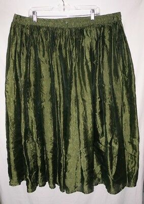 Fun Flowing Incandescent Green Draw String Peasant Skirt Plus Size 2X 3X 4X 24