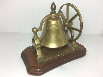 Vintage Brass Ship's Bell With Mount Pulley Wheel Desk Bell Wood Base 8""