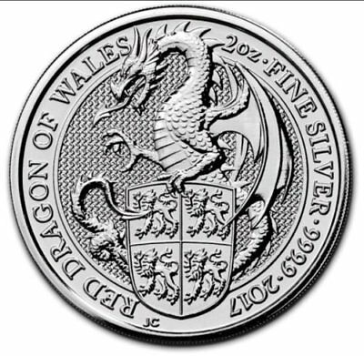 2017 QUEENS BEASTS THE DRAGON 2oz SILVER COIN