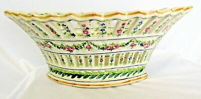Antique 18Th Century Sevres Hand Painted Porcelain Reticulated Bowl