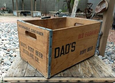 Vintage Wood Dad's Old Fashioned Root Beer Crate Soda Bottle Box Very Good Condi