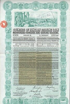 Counties of Hungary Sterlin Loan 100 Pfund aus 1926 SELTEN !!!