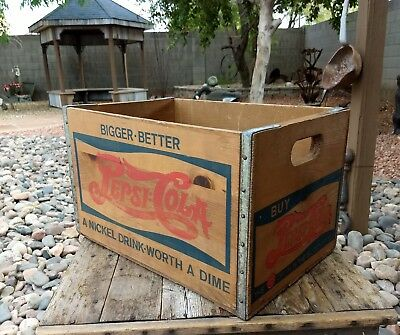 Vintage Pepsi Cola Bigger Better Nickel Worth Dime Wood Wooden Crate Bottle Box