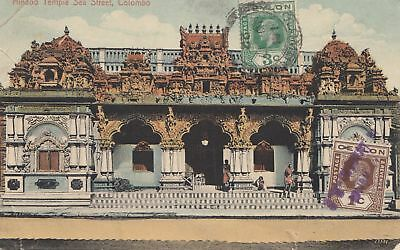 Ceylon: 1922: Post card Hindoo Temple printed Matter Colombo to Dresden
