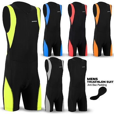 Mens Triathlon Suit Cycling Running Compression Tri Suit CoolMax Padding NEW