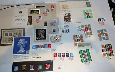 Great Britain, Queen Elizabeth. 16 FDC, Letters+. Machin, Book Stamps. 1983-1987
