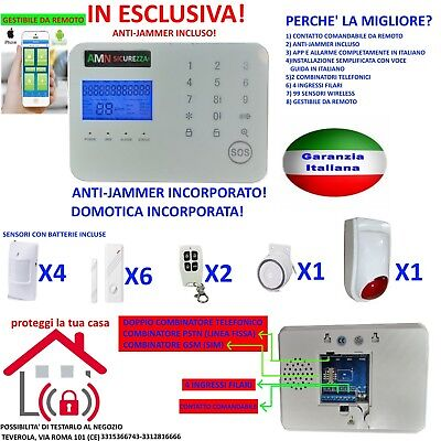 KIT ANTIFURTO ALLARME Per LA CASA TOUCH SCREEN SENZA FILI WIRELESS GSM JAMMER