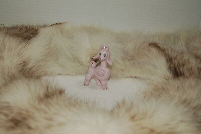 Pink Poodle Figurine with Gold Trim-Ceramic-Porcelain w-Blue Eyes-Made in Japan