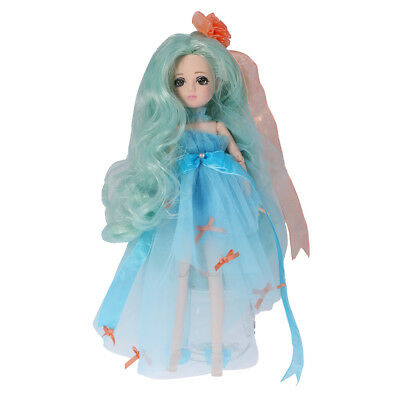 Flexible 30 Joints 27CM Make Up Vinyl Jointed Body Doll in Blue Kid Toy Gift
