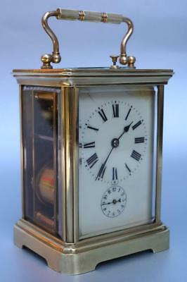 ANTIQUE STRIKE REPEATER CARRIAGE CLOCK with alarm BY CHARLES HOUR triple train
