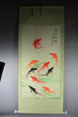 Chinese Artist's Seal Hand Scroll Painting with Fishes