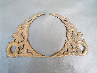 Pair of brass clock spandrels - New old stock - spares parts