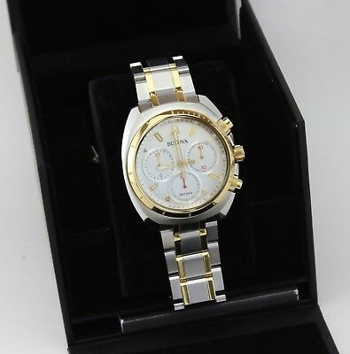 New Authentic Bulova Curv Collection Silver Gold Chronograph Men's 98A157 Watch