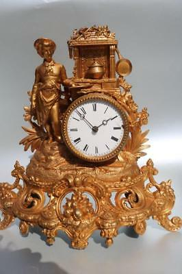 ANTIQUE FRENCH GILT METAL MANTEL CLOCK 8 day 'tic-tac' in good working order KEY
