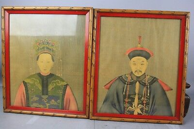 Framed Chinese Two Print Painting King and Queen