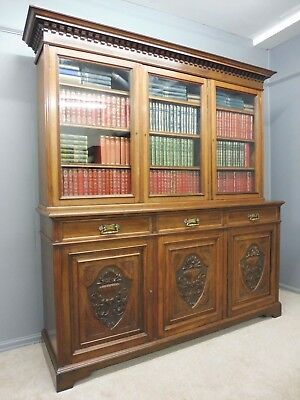 Large Antique Victorian Walnut Country House Library  Bookcase