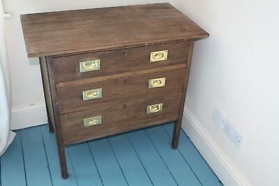 Antique Chest Of Draws With Lovely Brass Handles And Short Legs