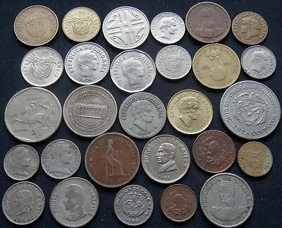 Colombia Collection, 28 Different Type Old And New Coins.  1886 To 2010
