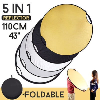 110cm 43'' 5in1 Photo Photography Mulit Collapsible Light Reflector Handle Grip