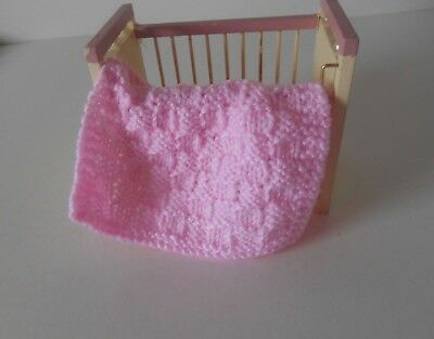 Hand Knit Miniature Dollhouse Doll Baby Blanket Pink