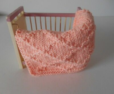 Hand Knit Miniature Dollhouse Doll Baby Blanket Peach