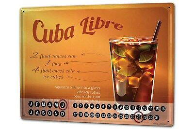 Dauer Wand Kalender Bar Party  Cuba Libre Rezept Metall Magnet