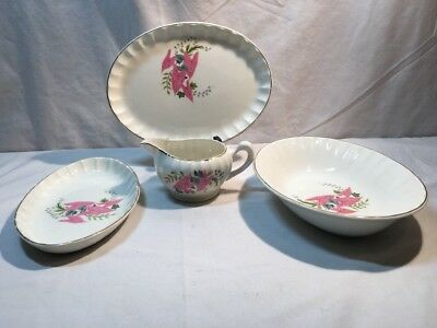 W S George PINK CALADIUMS Serving Bowls (3) And Creamer —Leaves Scalloped