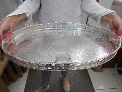 """Superb Very Large Silver Plated Butlers Tray Ornate Gallery Lovely Order  22"""""""