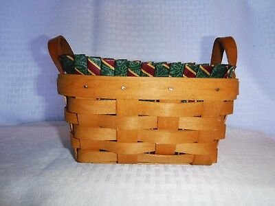 AUTHENTIC 1995 Longaberger TEA BASKET,LINER  HOLIDAY STRIPES & Protector COMBO