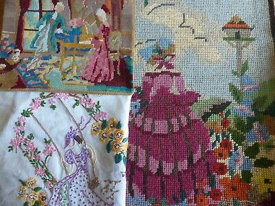 3 x VINTAGE TAPESTRY AND  EMBROIDERED PANELS CRINOLINE LADY COTTAGE GARDEN SWING