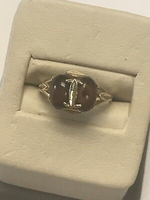 Beautiful 14KT Yellow Gold 585 Double Prong Set Tigers Eye Designer Ring